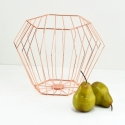 "FABLE Geometric Basket 11""Dx8.7""H,  Rose Gold"